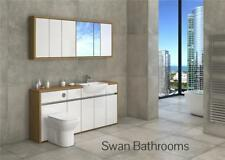 OAK / WHITE GLOSS BATHROOM FITTED FURNITURE WITH WALL UNITS 1800MM