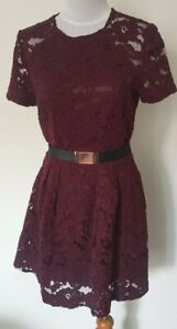 Cue Maroon Burgundy Lace Belted Fit Flare Dress - size 8 marked 10