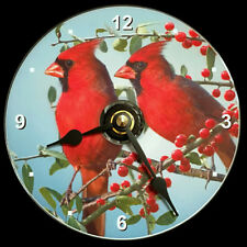 """CARDINAL BIRDS Wall CLOCK -CD/DVD Size 4.75"""" dia. Bird Cardinals. Christmas Gift"""