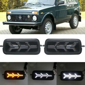 Pair DRL LED Daytime Running Lights with Flowing Turn Signals For Lada Niva 4X4