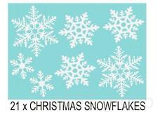 21 x  SNOWFLAKES CHRISTMAS DECORATIVE WINDOW WALL CAR STICKERS