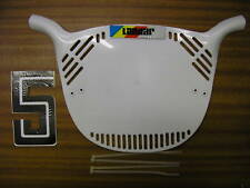 LANDAR Old school BMX Number Plate Genuine New Old Stock Made In Années 80 Blanc