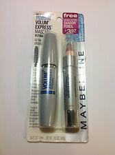 Maybelline Volume Express Waterproof Mascara VERY BLACK + Bonus Shadow Pink NEW.