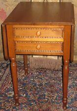WALNUT WORK/LAMP/END TABLE 2 DRAWERS DROP LEAVES KNOB