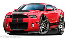 Ford Mustang Shelby GT500 2010 Cartoon Car Wall Poster Decal Vinyl Cling Graphic