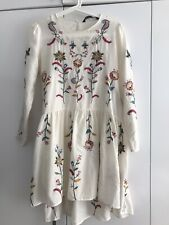 Zara-style Black Floral Embroidered Relaxed Dress Size M/10-12