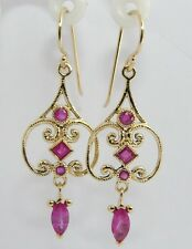 CE421 Genuine 9ct SOLID Yellow Gold NATURAL Ruby Chandelier Drop Earrings