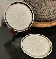 2 Lenox Seville Ivory with Platinum Wine Bottle Coasters / Trivets USA Excellent