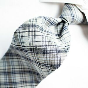 BANANA REPUBLIC Made in Italy  Rustic Blue with Black, Beige and Navy Plaid Tie