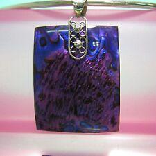 1 3/4 Purple Rectangle Abalone Paua Shell Handmade 925 Sterling Silver Pendant