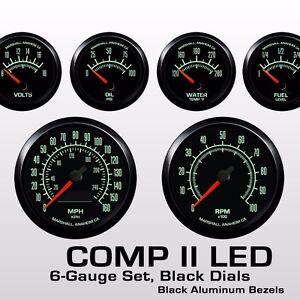 C2 60s Muscle 6 Gauge Set, Black Bezels, 0-90 Ohm Fuel Level, 2964BLK