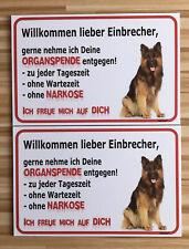 Vorsicht LANGHAAR Schäferhund Schild 2 Stück Einbrecher 20x30 Hund