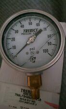 "4"" 0- 100 PSI Stainless Gauge Pressure Liquid Filled Guage 1/4""  Trerice 700LFB"