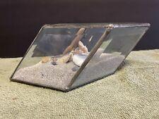 Vintage Seashell Beveled Glass Sand Diamond Shaped Box with shells
