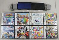 Nintendo DS Lite Console Lot 2 Systems 8 Games Cobalt Blue & Onyx Black
