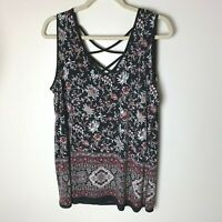 Lavish Women's Sleeveless Tank Top Size 1XL Floral Black Maroon Pink White