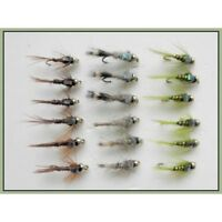 Gold Head Trout Flies,18 Pack, Flash Head Hares Ear, Olives, Pheasant Tail 10/12