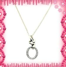 Pandora Silver Knotted Heart Pendant Necklace S925 ALE