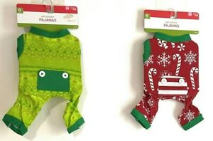 Lot of 2 X-Small Dog Clothes One Green PJ & One Red PJ Christmas / Holiday