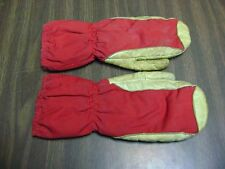 Leather and Cloth Red and white Mittens Country Cabin Decor Collectible