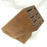 Chicago Cutlery 9-Slot Wooden Knife Block Holder Solid Oak Wood Storage EMPTY