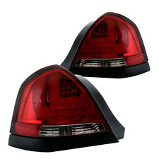 98-11 Ford Crown Victoria Red Euro LED Taillights w/ Chrome Reflector