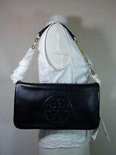NWT Tory Burch Classic Black Leather BOMBE Reva Shoulder Bag/Clutch - $350