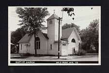 Wild Rose Wisconsin WI 1940s RPPC Old Wooden Baptist Church Bldg on the Corner