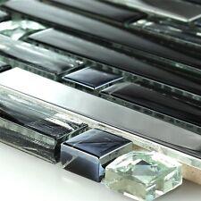 Edelstahl Metall Glas Mosaik Fliese Schwarz Mix