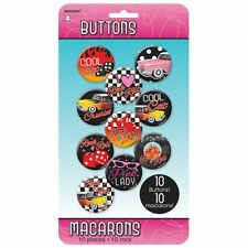10 x 1950 1950's 50's Disco Rock N Roll Birthday Party Assorted Button Badges