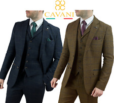 Mens Cavani Tweed Wool Check Peaky Blinders Suit Blazer 3 Piece Sold Separately