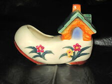 Vintage Made in Occupied Japan Shoe Planter with House Flowers Moon Window