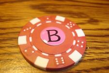 """ B "" Monogram Dice design Poker Chip,Golf Ball Marker,Card Guard Red/White"