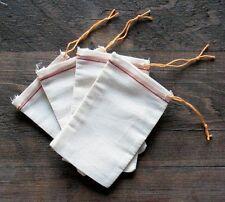 25 (3x5)Natural Muslin RED HEM orange drawstring bag for Parts