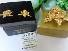RARE! US AVON ROSE PASSION RHINESTONE ACCENT  Earrings Brooch 95-2000 Collection
