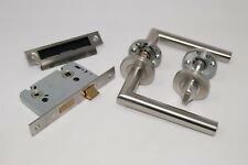 Mitred Door Handle Pack Bathroom/Privacy Set Satin Stainless Steel