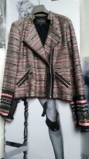 WOMEN BIKER RIVER ISLAND JACKET/COATS PINK/BLACK/GOLD LUREX EMBELLISHED M UK14