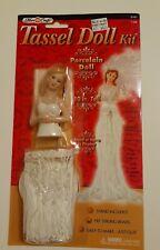 """Tassel Doll Kit Fibre Craft  10"""" Porcelain Doll Beaded Skirt Hang or Stand WHITE"""