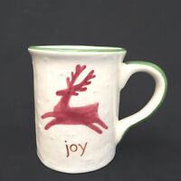 Christmas Joy Snow Flakes Reindeer Coffee Mug Collectable Pottery