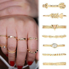 Vintage Charm Rings Silver Gold Crystal Above Knuckle Ring Band Ring Set Boho