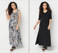 Attitudes by Renee Petite Set/2 Printed & Solid Maxi Dresses - Animal/Black/PL