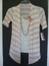 BONGO Juniors Elbow Sleeve 2 Fer Casual Polyester Nude White Striped Knit Top S