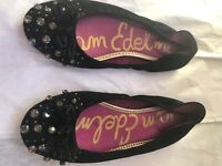 SAM EDELMAN EMBELLISHED BLACK JEWELED BOWS BALLET FLAT SHOES sz 7