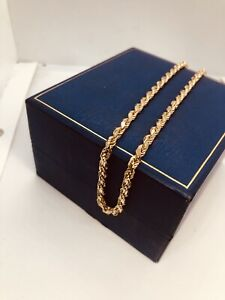 """9CT Yellow Gold 16"""" Rope Chain Necklace Choker Full Hallmarks Heavy 21.17g"""
