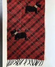 100% Laine Vierge Wool Scarf Scotties Scotty France Black Red Plaid 12 x 52 Hole
