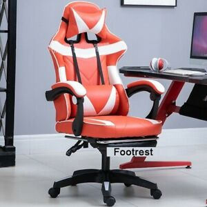 PC Gaming Chair Swivel Highback Ergonomic Leather Racing Adjust Office White/Red