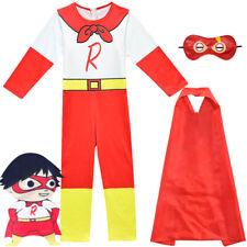 Kids Ryan Toys Review Cosplay Costume Fancy Dress Halloween Jumpsuit Romper Cape