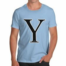 Twisted Envy Men's Alphabet Monogram Letter Y T-Shirt
