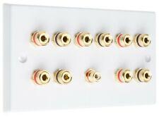 Speaker Wall Plate 5.1 10 Gold Binding Posts + 1 RCA AV Audio Non-solder