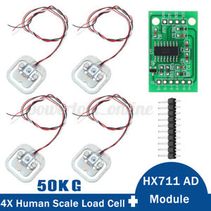 4Pcs 50KG Scale Human Body Load Cell Weight Pressure Sensors HX711 AD Module